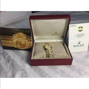Rolex Ladies Watch Gold Diamond Dial Oyster Perpet